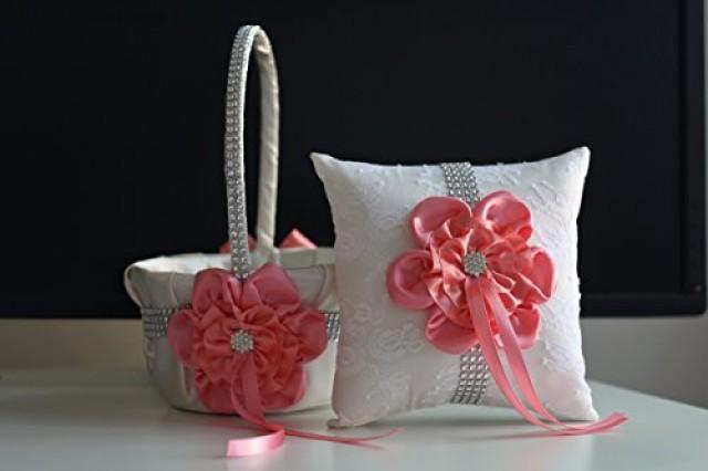 wedding photo - Off White Coral Flower Girl Basket  Coral Ring Pillow  Off White Coral Bearer Pillow  Coral Wedding Basket Pillow Set  Coral Basket