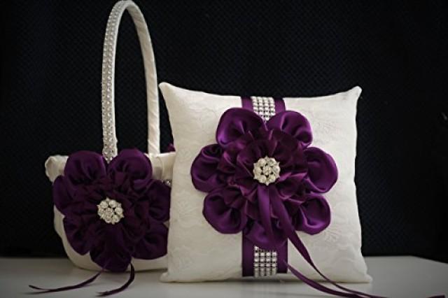 wedding photo - Plum Wedding Basket   Plum Ring Bearer Pillow  Ivory Flower Girl Basket   Ivory Wedding Pillow  Ivory Plum Wedding Pillow Basket Set