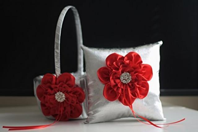 wedding photo - Red Flower Girl Basket  Red Ring Bearer Pillow  Red Wedding Basket  Silver Wedding Pillow  Silver Basket Pillow Set  Silver Ring Holder