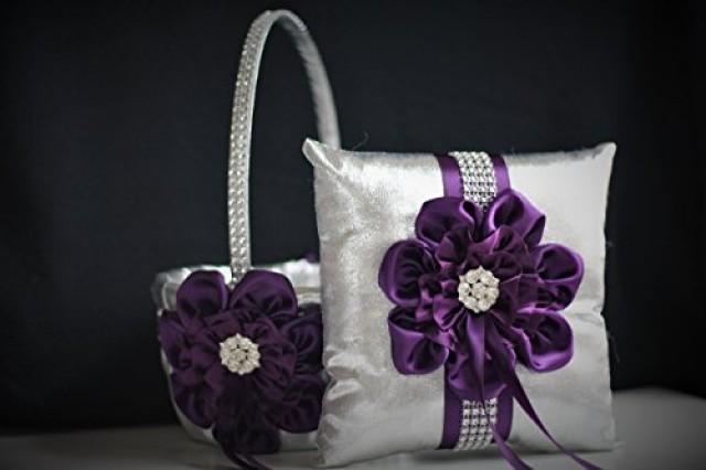 wedding photo - Plum Wedding Basket   Plum Ring Bearer Pillow  Silver Flower Girl Basket   Silver Wedding Pillow  Silver Plum Wedding Pillow basket Set