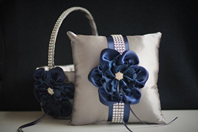 wedding photo - Gray Navy Wedding Basket   Navy Ring Bearer Pillow  Navy Flower Girl Basket   Gray Navy Bearer  Navy Wedding Pillow  Navy Blue Basket