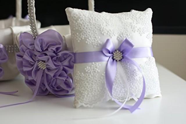 wedding photo - Violet Ring Bearer Pillow  Violet Flower Girl Basket  Light Purple Bearer Pillow  Lilac Wedding Basket  Violet Wedding Pillow Basket Set
