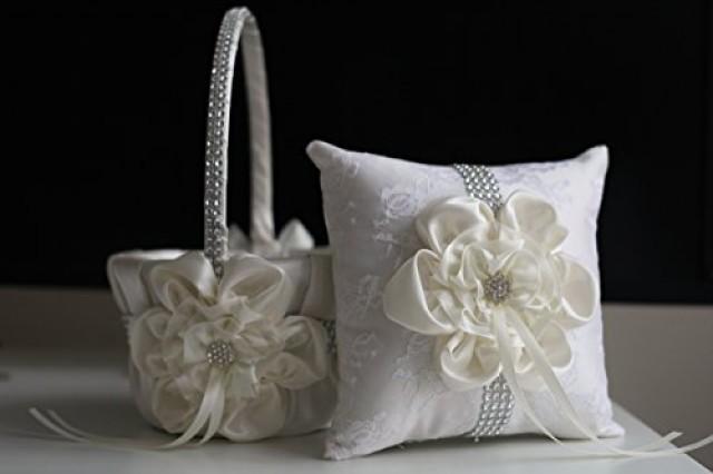 wedding photo - Off White Ivory Ring Bearer   Off White Ivory Wedding Basket  Cream Wedding Ring Pillow & Flower Girl Basket  Wedding Ring Holder   Petals Basket Pillow Set