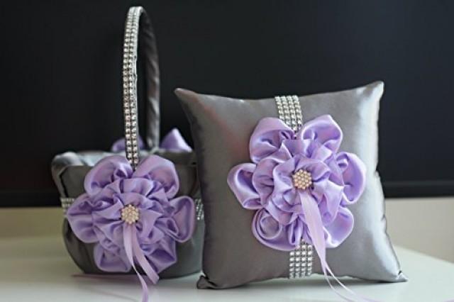 wedding photo - Lavender Flower Girl Basket  Lilac Ring bearer Pillow  Lavender Ring Pillow Basket Set  Lilac Gray Wedding Basket  Gray Wedding Pillow