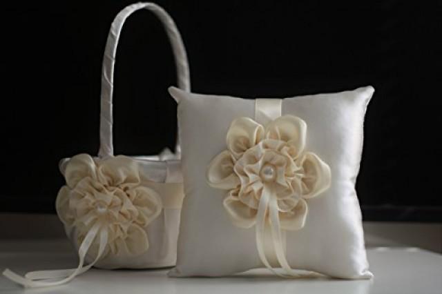 wedding photo - Ivory Ring Bearer and Ivory Wedding Basket  Cream Wedding Ring Pillow & Flower Girl Basket  Wedding Ring Holder   Petals Basket Pillow Set