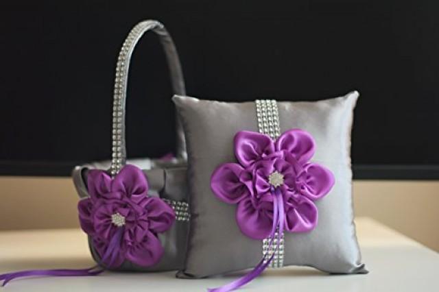 wedding photo - Purple Flower Girl Basket  Gray Ring Bearer Pillow  Purple Gray Wedding Basket  Gray wedding pillow basket set  Purple Wedding bearer