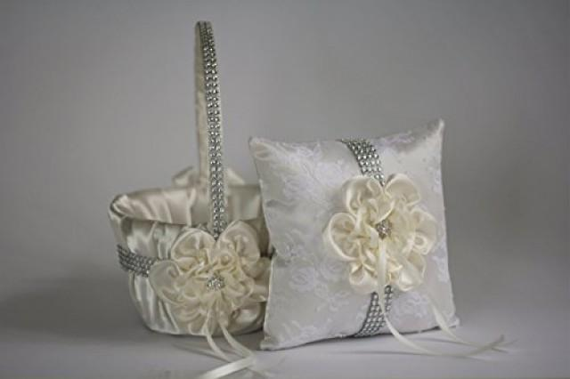 wedding photo - Ivory Ring Bearer   Ivory Wedding Basket  Cream Wedding Ring Pillow & Flower Girl Basket  Wedding Ring Holder   Petals Basket Pillow Set