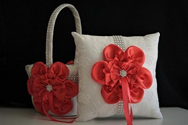 wedding photo - Ivory Persimmon Ring Bearer and Ivory Persimmon Wedding Basket  Cream Wedding Ring Pillow & Flower Girl Basket  Wedding Ring Holder   Petals Basket Pillow Set
