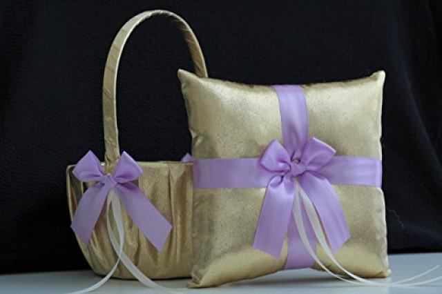 wedding photo - Gold Wedding Basket  Gold Violet Pillow  Gold Lilac Basket  Gold Lilac flower Girl Basket  Gold Violet Ring Bearer Pillow basket Set