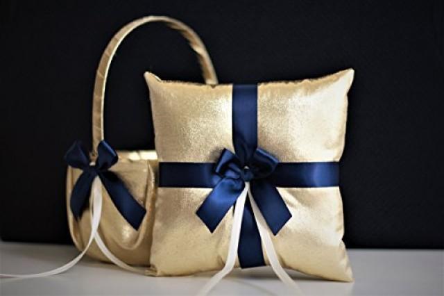wedding photo - Gold Navy Wedding Flower Girl Basket & Ring Bearer Pillow Set  Gold Wedding basket   Navy Ring Pillow  Gold Navy Blue Basket Pillow Set