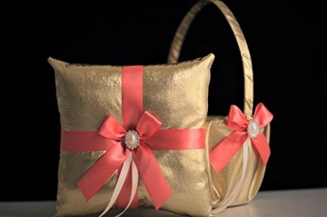 wedding photo - Coral Wedding Basket & Ring Bearer Pillow  Gold Flower Girl Basket   Coral Wedding Pillow Set  Gold Ring Bearer  Coral Pillow basket set