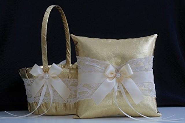 wedding photo - Gold Lace Wedding Bearer Pillow   Gold Flower Girl Basket  Lace Gold Wedding Basket  Gold Lace bearer pillow  Lace wedding basket pillow set
