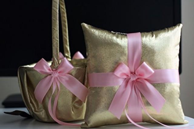 wedding photo - Gold Pink Wedding Ring Pillow & Flower Girl Basket  Gold Ring Bearer Pillow   Wedding Basket Set  Gatsby Style Bridal Ring Holder   Basket