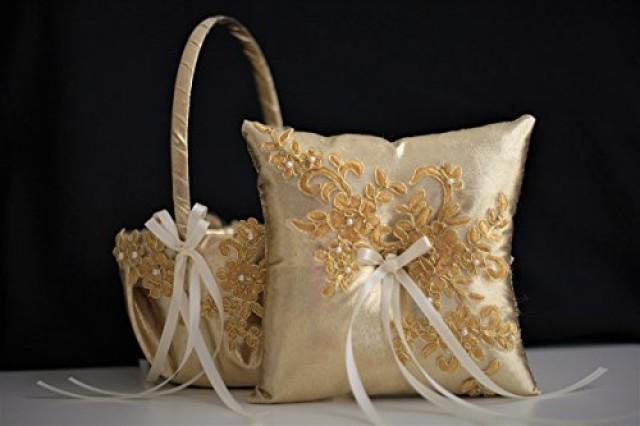 wedding photo - Gold Wedding Bearer Pillow   Gold Flower Girl Basket  Lace Gold Wedding Basket  Gold Lace bearer pillow  Lace wedding basket pillow set
