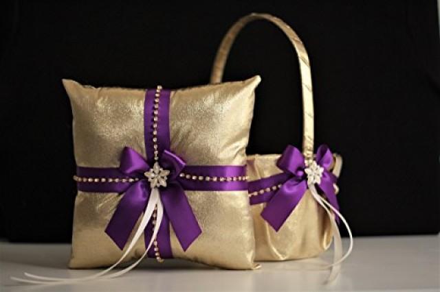 wedding photo - Gold Purple Wedding Flower Girl Basket & Ring Bearer Pillow  Purple Gold Wedding Pillow with Brooch Gold Wedding Basket with Purple Bow