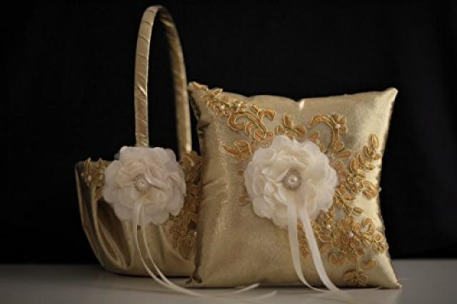 wedding photo - Gold Wedding Pillows  Gold Wedding Baskets with Lace  Gold Lace Bearer Pillow  Lace Wedding Basket  Gold Flower Girl Basket Pillow Set