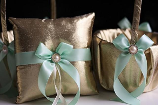 wedding photo - Gold Mint Bearer Pillow & Mint Wedding Basket  Gold Wedding Pillow   Mint Flower Girl Basket  Gatsby Style  Gold mint Wedding Ring Holder