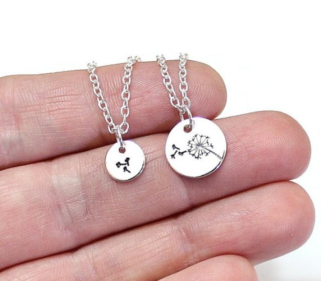wedding photo - Mother Daughter, Dandelion Necklace Set, Dandelion Charm Necklace, Sterling Silver,Gift for Mothers Day,Best Friends Necklace,New Mother Gif