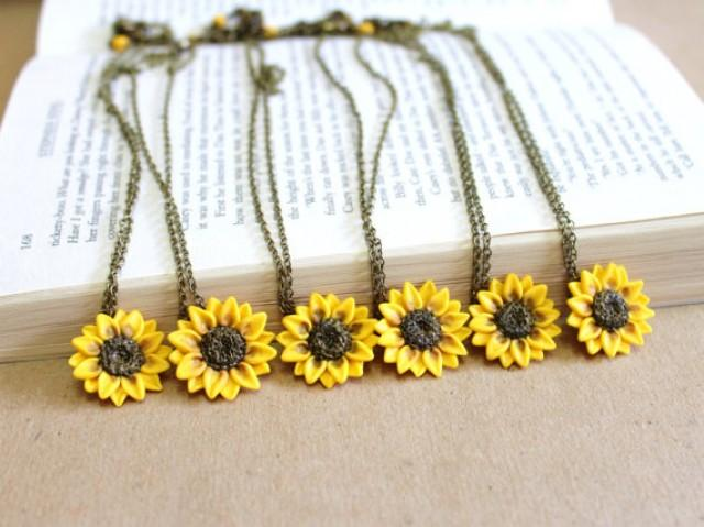 wedding photo - SET of 6 Sunflower Necklace,Sunflower Jewelry,Gifts,Yellow Sunflower Bridesmaid,Sunflower Flower Necklace,Bridal Flowers,Bridesmaid Necklace