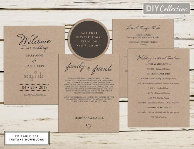wedding photo - Wedding Welcome Bag Note, Welcome letter, Wedding Agenda Template, Template Kit, Instant Download, Editable PDF, GD_WT101