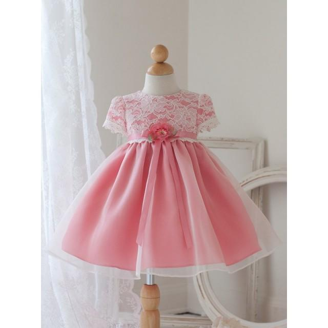 Coral Cap Sleeve Dress w/ Lace Bodice Style: DB810 - Charming Wedding Party Dresses