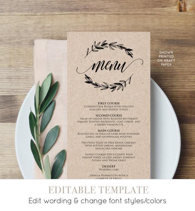 Rustic Wedding Menu Template, Printable Menu Card, Editable Text, Instant Download, DIY Wedding Reception Menu, Digital PDF File  #023-113WM