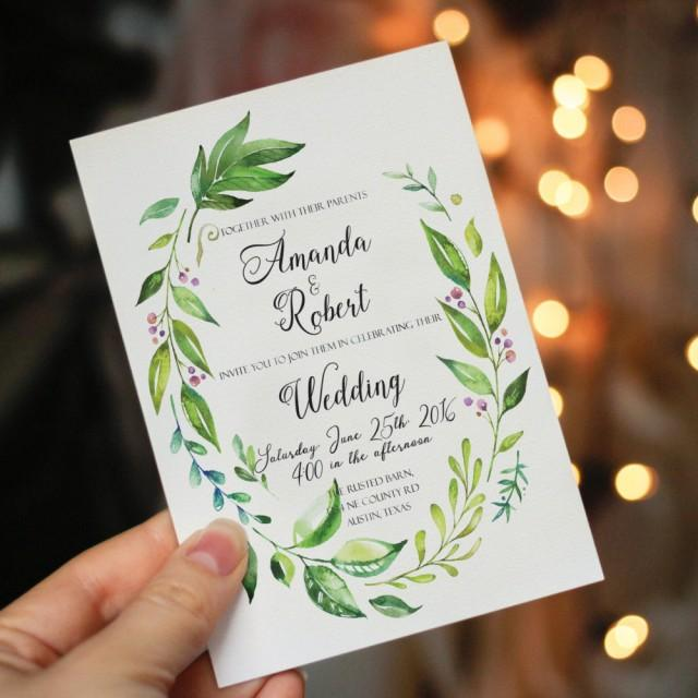 printable wedding invitation printable greenery wedding invitation garden wedding leafy wreath invitation watercolor greenery garden wedding