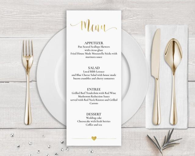 Gold Menu Template, Faux Gold Wedding Menu Card Template, Gold Calligraphy Wedding Menu Gold, Wedding Menu Printable, Faux Gold Foil Menu