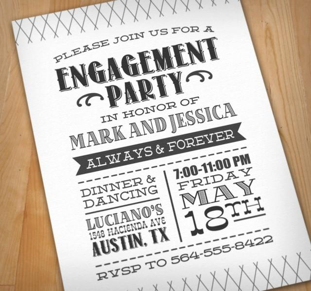 LETTERPRESS Engagement Party Printable Invitation