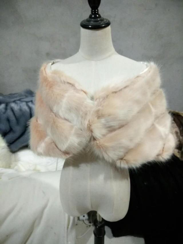 Blush Pink / Light Brown faux fur bridal wrap, Wedding Fur shrug, Fur Wrap, Bridal Faux FurStoleFur Shawl Cape,wedding faux fur wrap