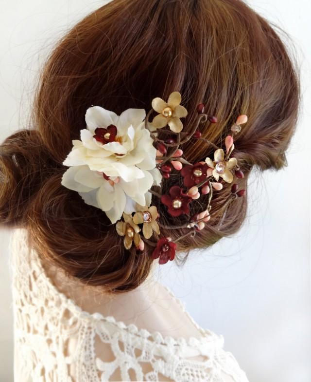 burgundy hair piece, burgundy hair flower, burgundy hair clip, ivory hair flower, bridal hair piece, wedding hair piece, gold wedding