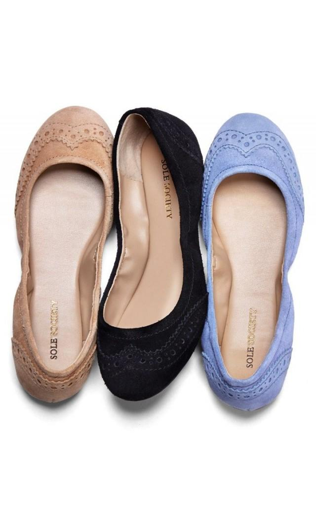 Sole Society - Ruched Ballet Flats - Tanya - Beachwood