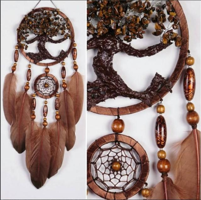 wedding photo - Brown Dream Catcher Tree of life Dreamcatcher tiger eye brown Dream сatcher tiger eyes wall handmade gold Brown gift small dream catchers