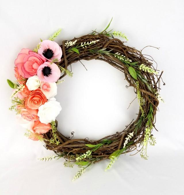 wedding photo - Floral wreath - Paper flower wreath - Wreath decor - Rustic floral wreath - Home decor - Door wreath - $78.99 USD