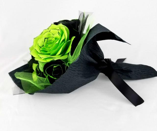 wedding photo - Gift bouquet of handcrafted paper flowers in lime green and black, First anniversary flower bouquet, get well soon bouquet, Graduation - $19.99 USD