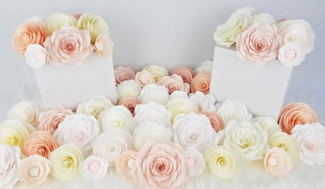 wedding photo - DIY flower wall, Paper floral wall flowers, Build your own flower wall, DIY photo prop, DIY backdrop, Wall flowers - $235.00 USD