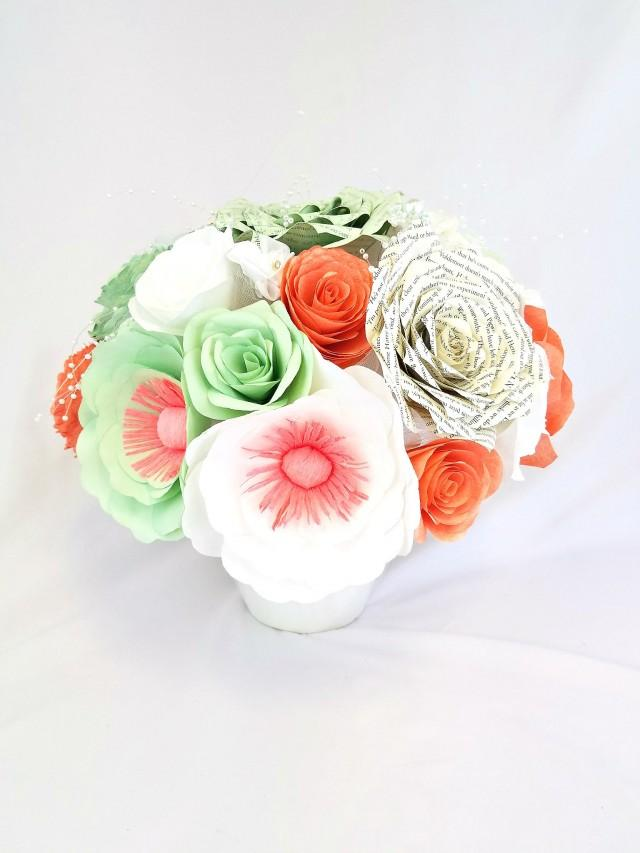 wedding photo - Floral centerpiece filled with handcrafted coral and mint green paper peonies, roses and anemones, table floral decor, floral home decor - $128.00 USD