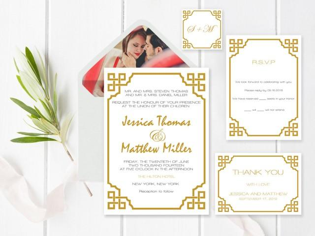 wedding photo - Wedding Invitation Suite Templates, Gold Vintage Wedding Invitation Kits, Printable Wedding Invitation Suite, Editable Text, DIY You Print - $20.00 USD