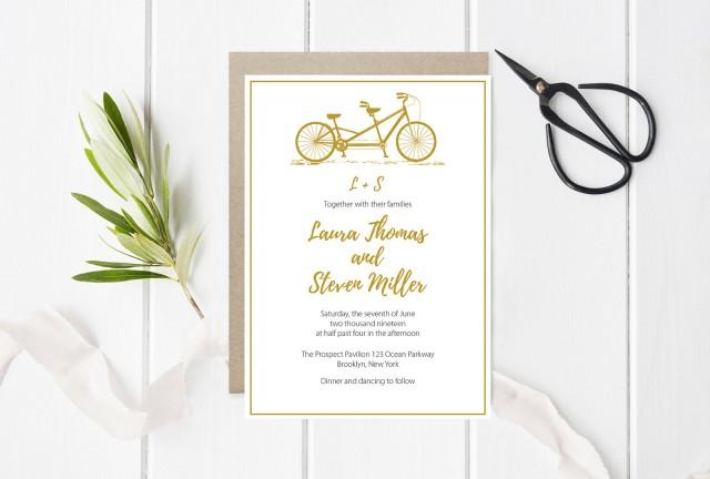 wedding photo - Tandem Bike Wedding Invitation Template, Gold Bicycle Invitations, Printable Wedding Invitation, Editable PDF Templates, DIY You Print