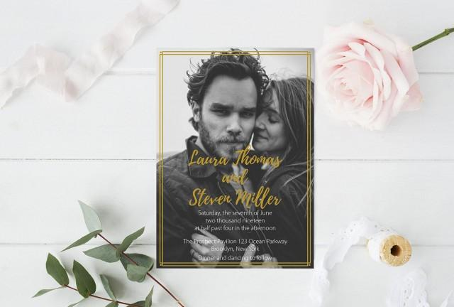 wedding photo - Photo Wedding Invitation Template, Art Deco Printable Photo Wedding Invitate, LDS Wedding Invitation, Editable PDF Templates, DIY You Print