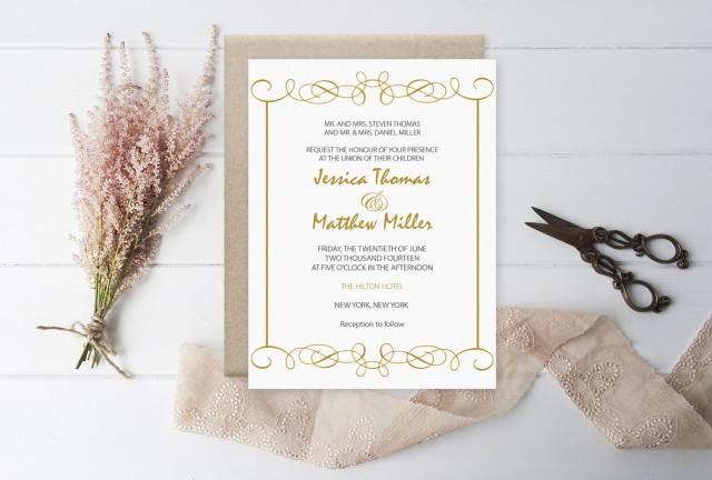 wedding photo - Elegant Swirls (Gold) Printable Wedding Invitation PDF Template - DIY Printable Wedding Invitation Editable PDF Template - DiY You Print - $8.00 USD