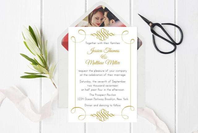 wedding photo - Swirls Wedding Invitation Template, Swirls Invitations, Printable Wedding Invitation, Envelope Liners, Editable PDF Templates, DIY You Print - $8.00 USD