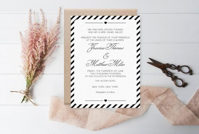 wedding photo - Striped Wedding Invitation Template, Printable Wedding Invitation, Modern Carnival Stripes Editable PDF Template Download - DIY You Print - $8.00 USD