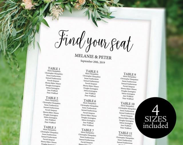 Wedding seating chart template printable 2