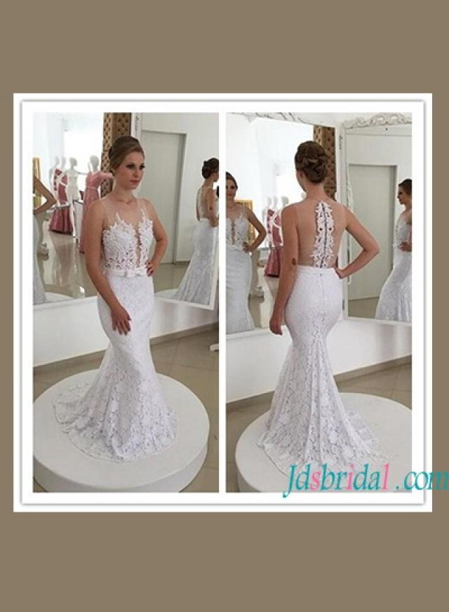 wedding photo - Sexy sheer back illusion lace mermaid wedding dress