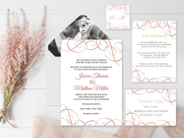 wedding photo - Wedding Invitation Suite Templates, Coral Swrils Wedding Invitation Kits, Printable Wedding Invitation, DIY Suite Templates, DIY You Print - $20.00 USD