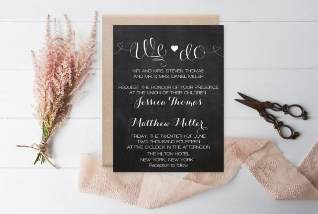 wedding photo - Chalkboard We Do Wedding Invitation Template - Chalkboard Heart Wedding Invitation - DIY Printable - Editable PDF Templates - DIY You Print - $12.00 USD