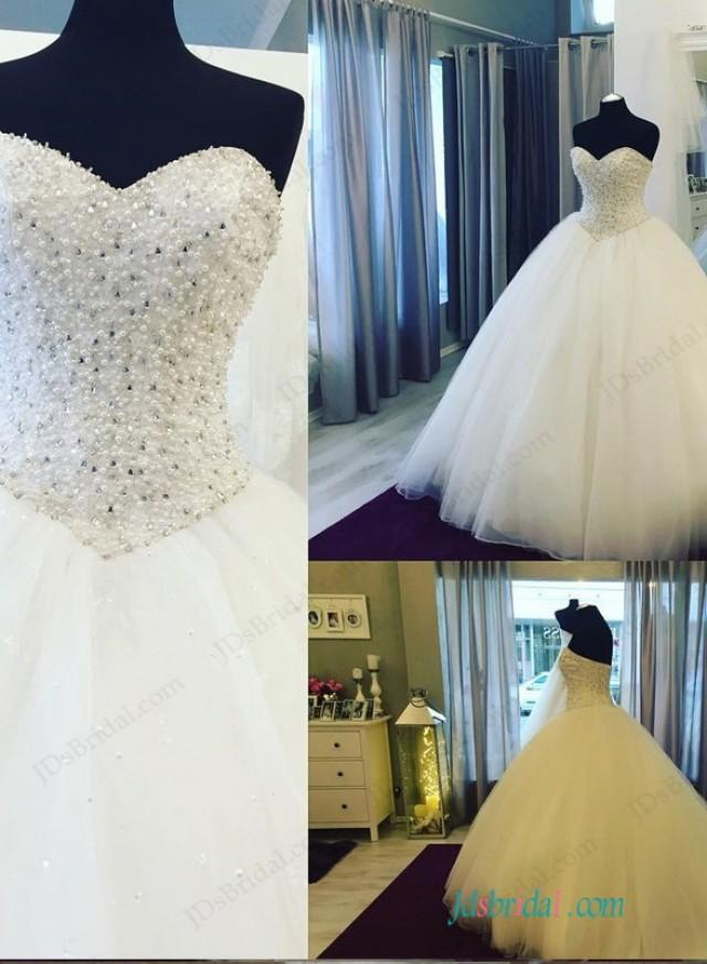 wedding photo - Stunning beaded bodice princess ball gown wedding dress