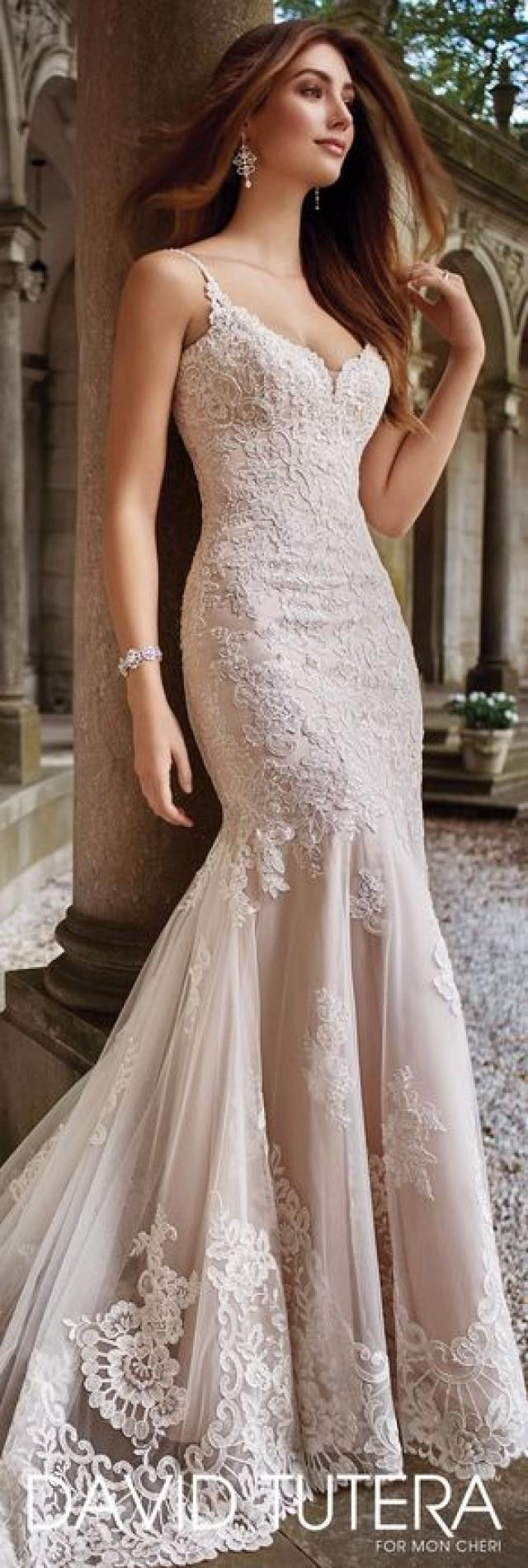 David tutera wedding dresses hand beaded spaghetti strap for Wedding dress trim beading