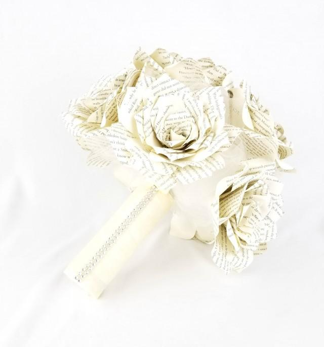 wedding photo - Paper rose book bouquet - Ivory book bouquet - Vintage book page bouquet - Paper rose bridal bouquet - Book Rose bouquet - Book page bouquet - $68.95 USD